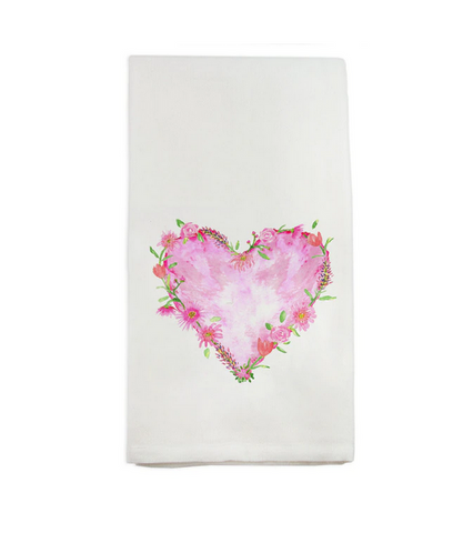 Solid Floral Heart Hand Towel