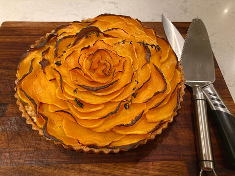 Butternut Squash, caramelised onion and goat's cheese tart