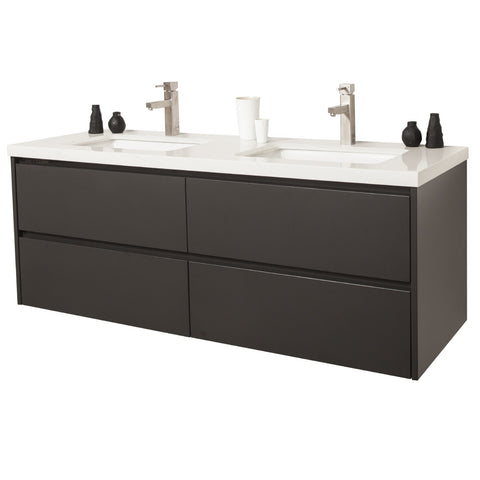 Formio 1500 double sink in charcoal grey glossy lacquer finish