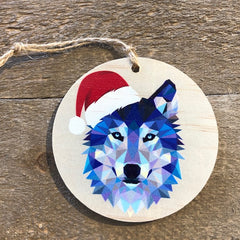 Geometric Wolf with Santa Hat