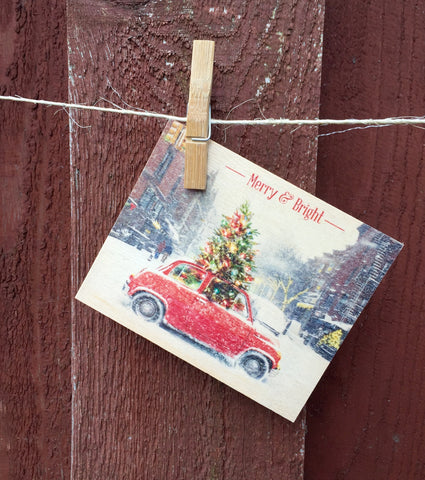 Christmas Tree Car Postcard