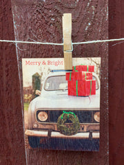 Merry and Bright Car Postcard