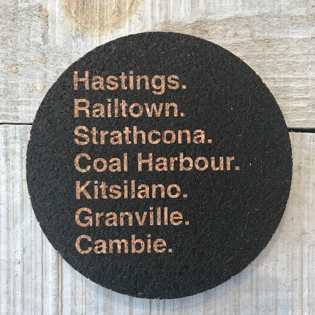 Vancouver Street Sign Cork Coaster Set