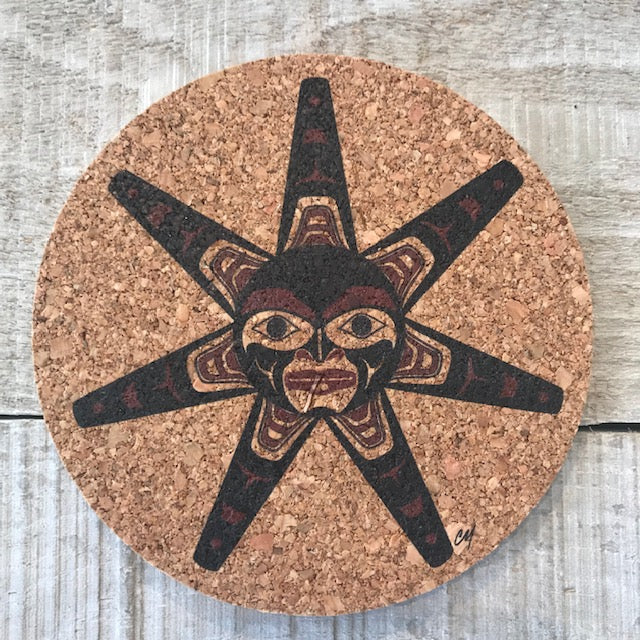 Haida Sun Cork Coaster Set