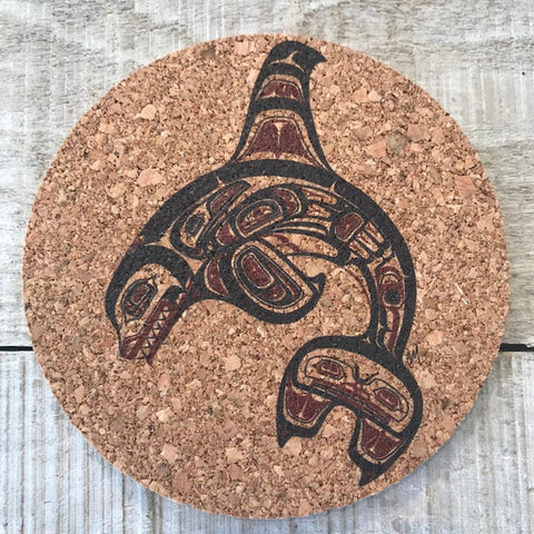 Haida Killer Whale Cork Coaster Set