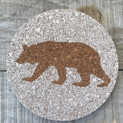 Silhouette: Bear Cork Coaster Set