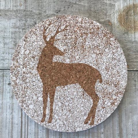 Silhouette: Deer Cork Coaster Set
