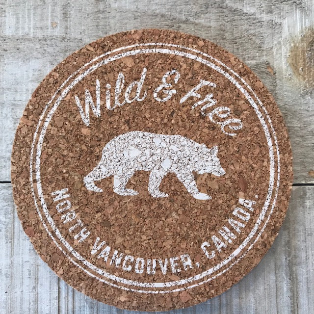 North Vancouver Bear Logo Cork Coaster Set