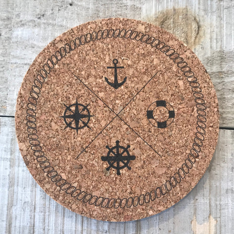 Anchors Away Cork Coaster Set