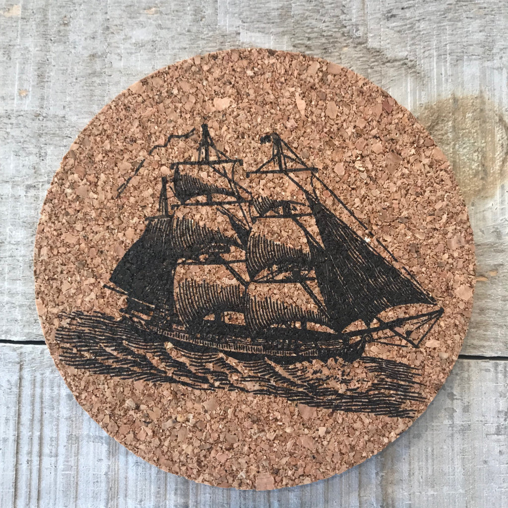 Tall Sail Cork Coaster Set