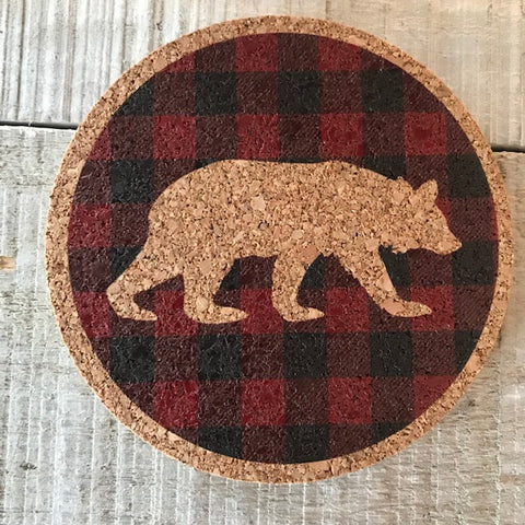 Plaid Bear Cork Coaster Set