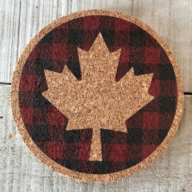 Plaid Maple Leaf Cork Coaster Set