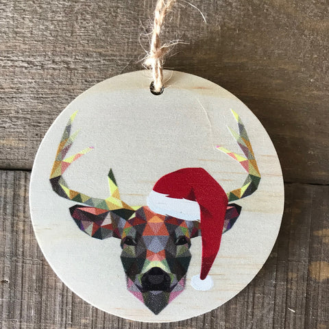 Geometric Deer with Santa Hat