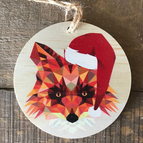 Geometric Fox with Santa Hat
