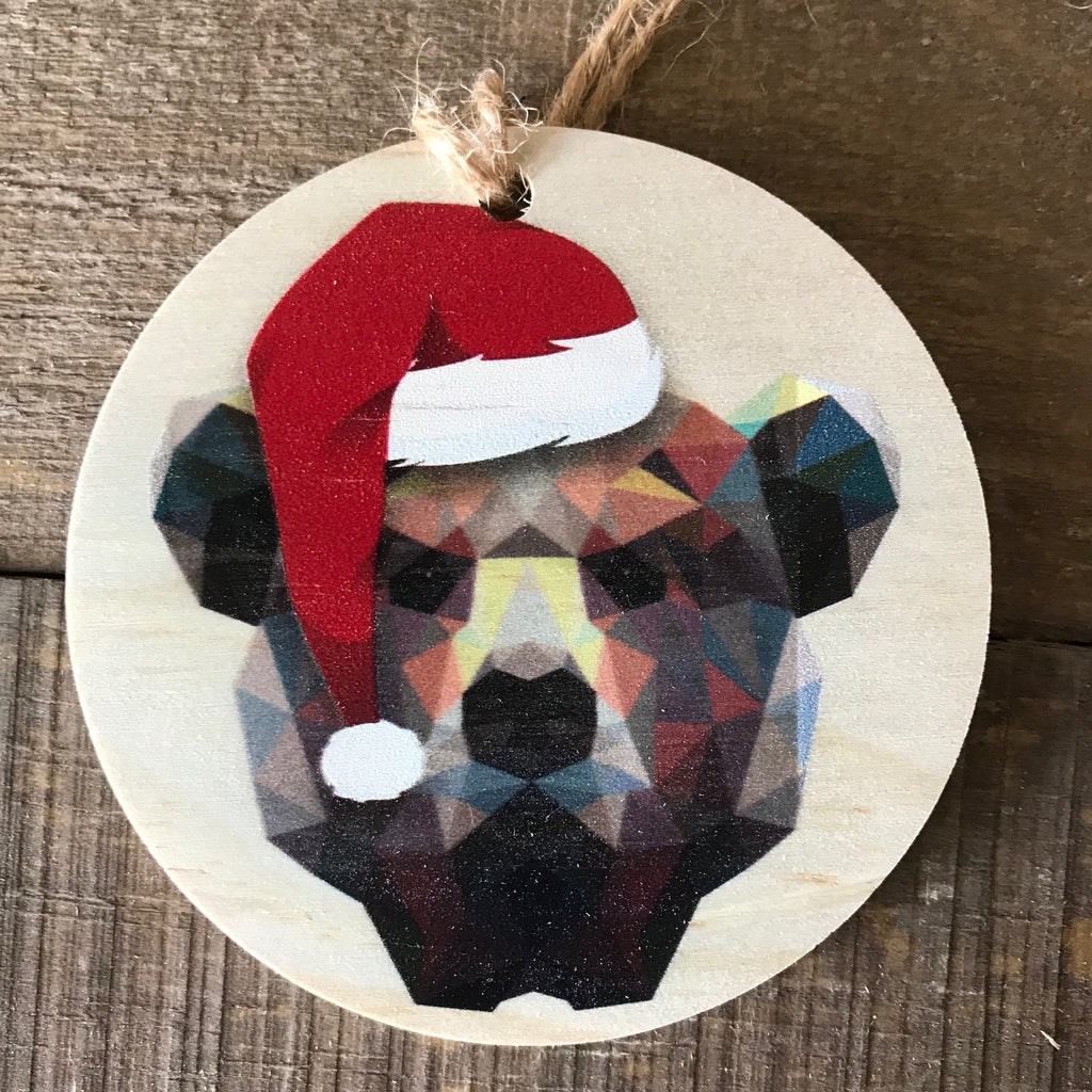 Geometric Bear with Santa Hat