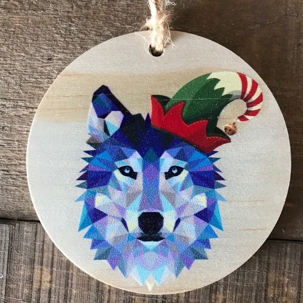Geometric Wolf with Elf Hat