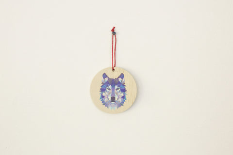 Geometric Wolf Round Ornament
