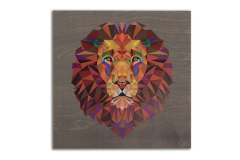Clearance: Geometric Lion, 22 x 22 Grey