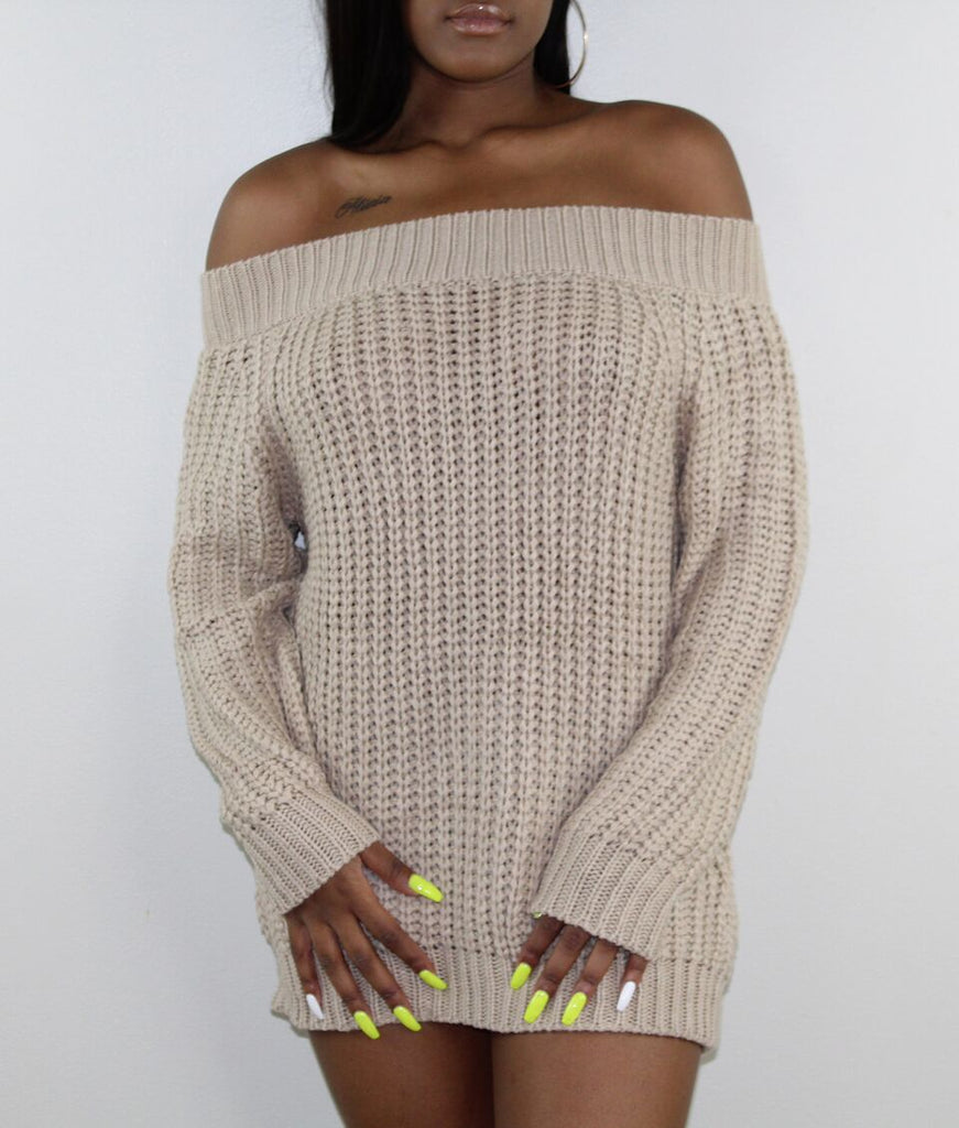 Off The Shoulder Nude Sweater