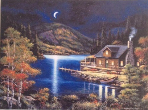 Cottage at Lake On Canavas - Illuminated Painting