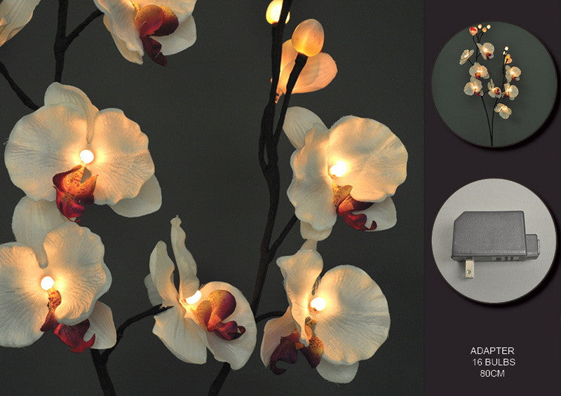 FLORAL LIGHTS-WHITE ORCHID AC-16L-80CM-2pc min & up