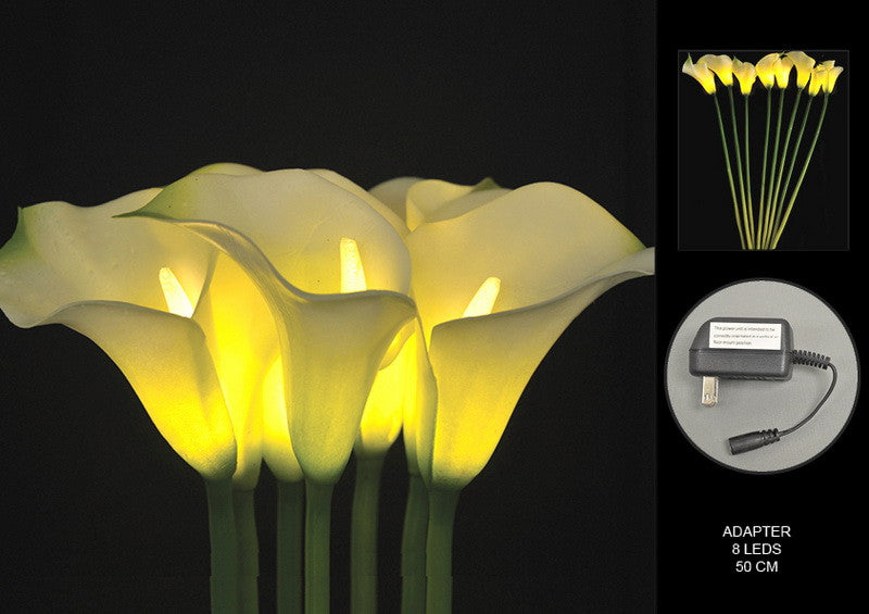 FLORAL LIGHTS-WHITE CALLA LILY AC-8L-2pc min & up