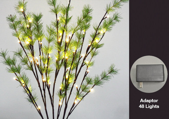 FLORAL LIGHTS-BRANCH W/PINE NEEDLES AC-48LED WARM WT-2pc min & up