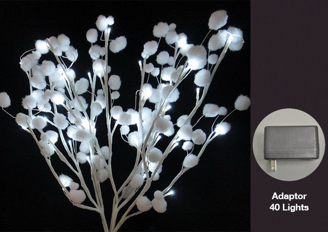 FLORAL LIGHTS-BRANCH W/SNOWBALLS AC-40L COLD LED-2pc min & up
