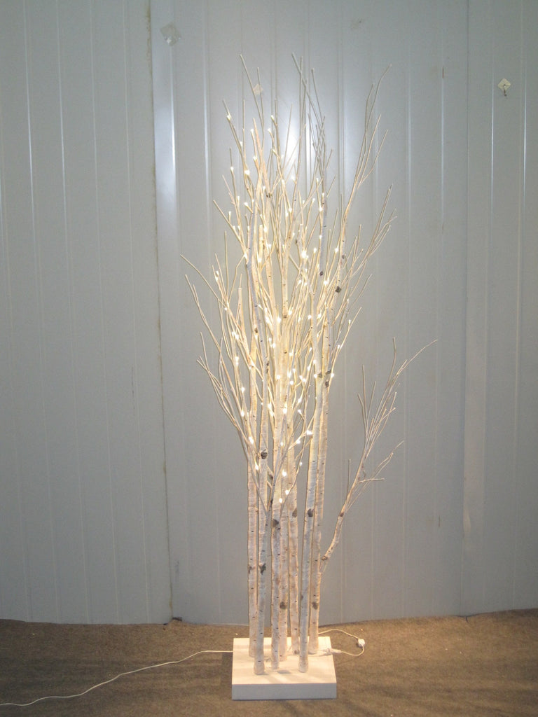 BIRCH TREES 160 LED INDOOR ONLY WHITE CABLE/WOOD BASE