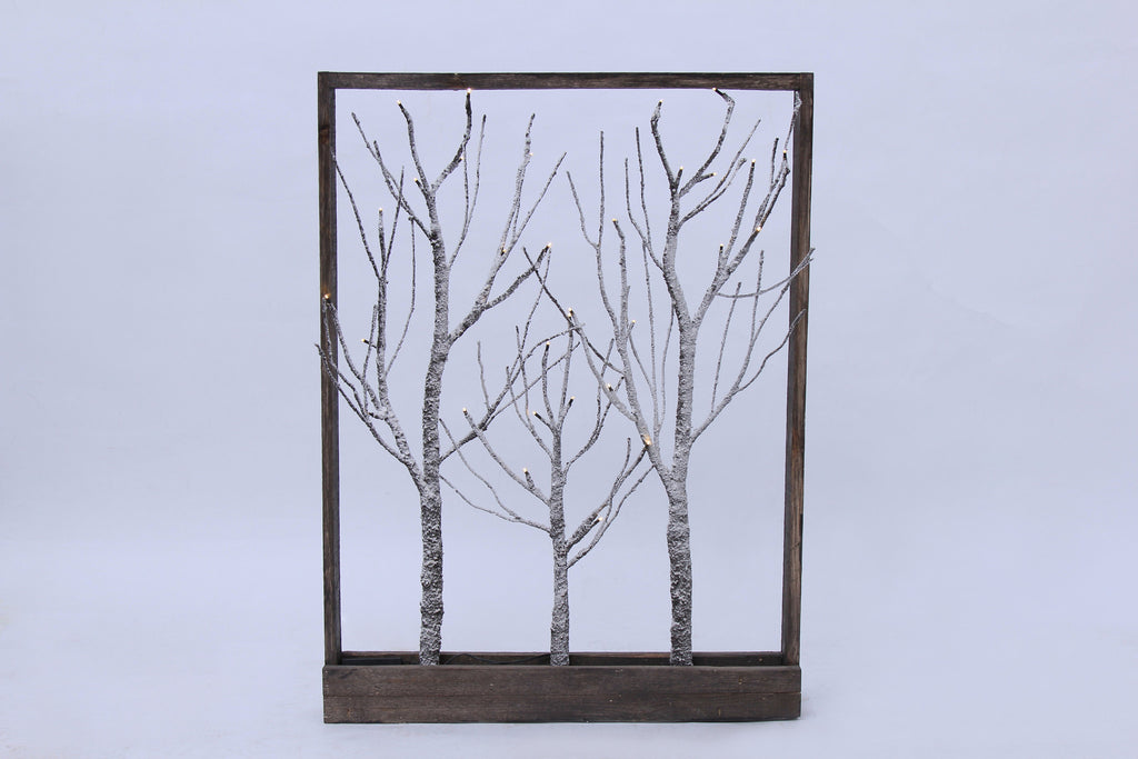 Buy Frame-Brown Trees with Snow 32 LED light, Warm White, 3AA ...