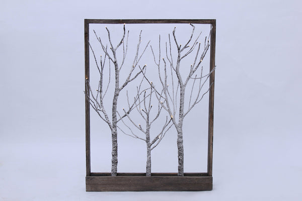 Frame-Brown Trees with Snow 32 LED light, Warm White, 3AA Battery, Indoor Use Only