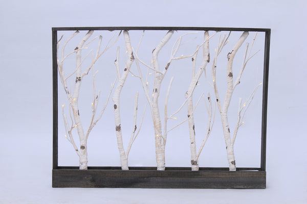 Frame Birch Trees 32 Warm White LED, 3AA Battery, Indoor Use Only
