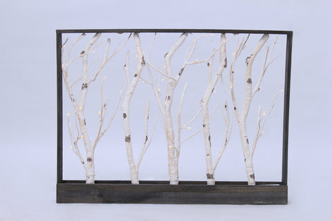 Frame-Birch Trees 32 Warm White LED, 3AA Battery, Indoor Use Only