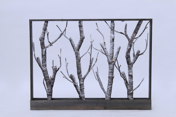 Frame-Brown Trees with Snow 32 Warm White LED 3AA Battery Operated, Indoor Use Only
