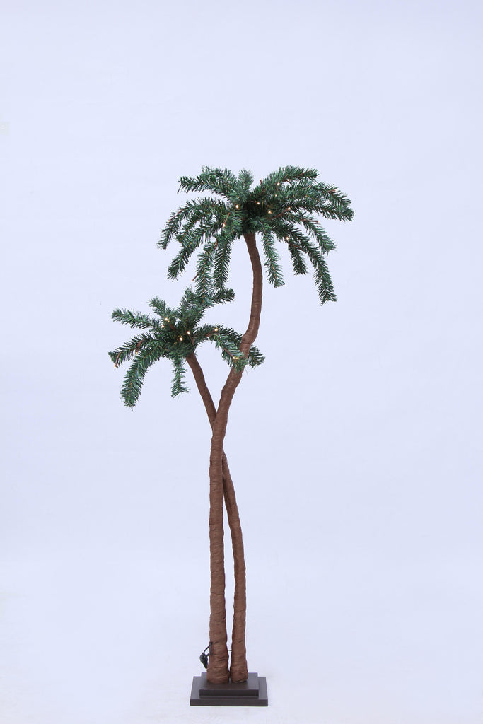 Palm Tree 48 Warm White LED, Brown/Green, Indoor Use Only