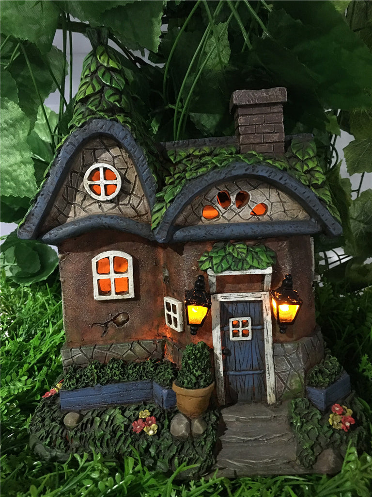 Fairy Garden-Cottage with Solar Lights