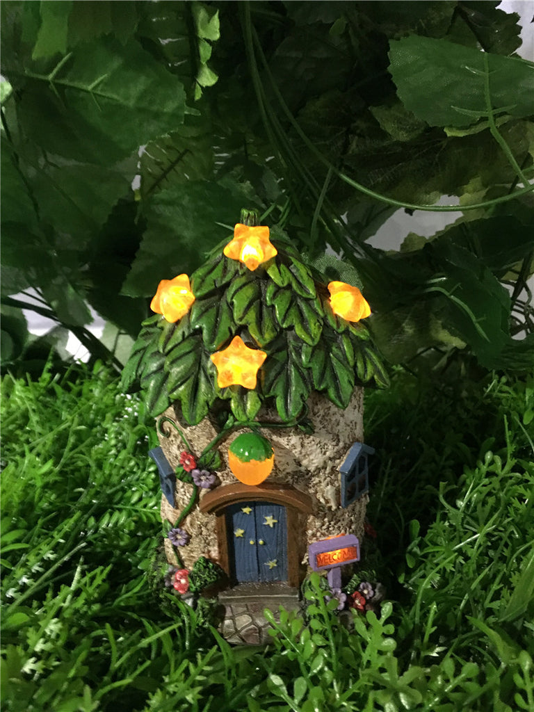 Fairy Garden-House W/Leaf Roof/Star Solar Lights