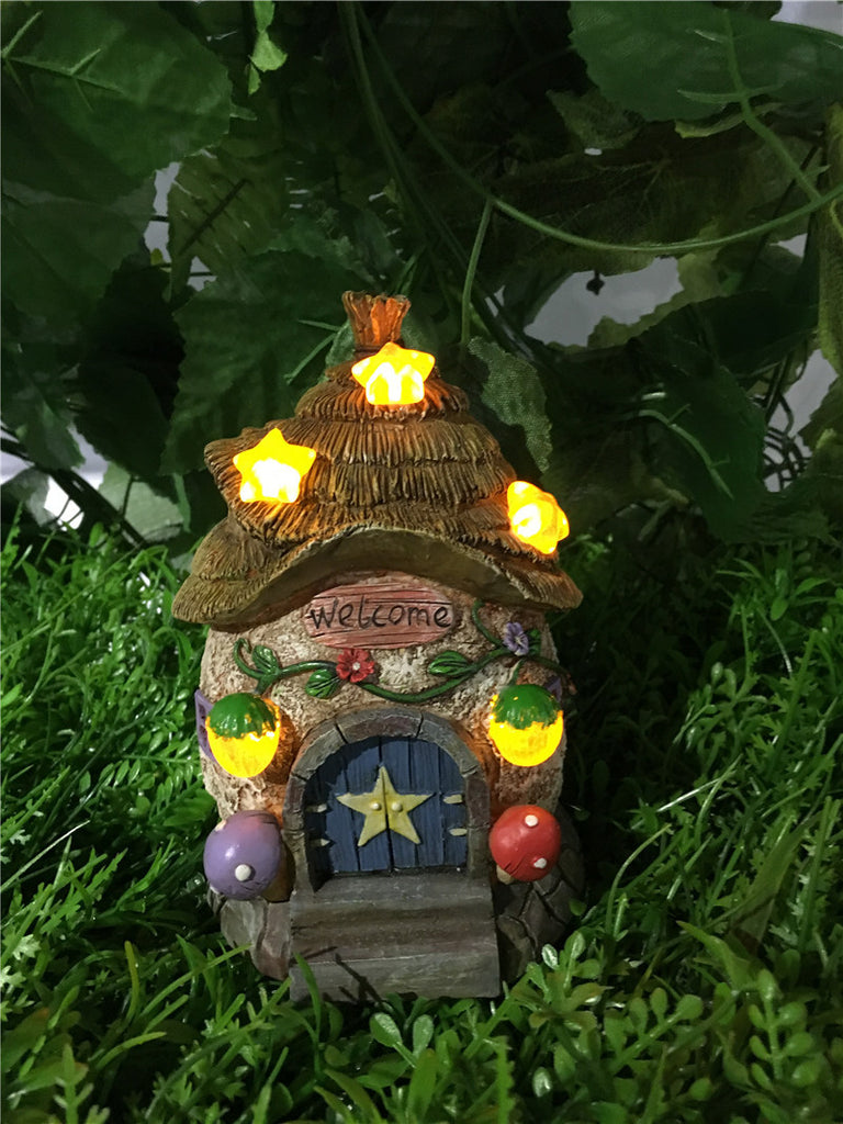 Fairy Garden-House W/Thatched Roof/Star Solar Lights