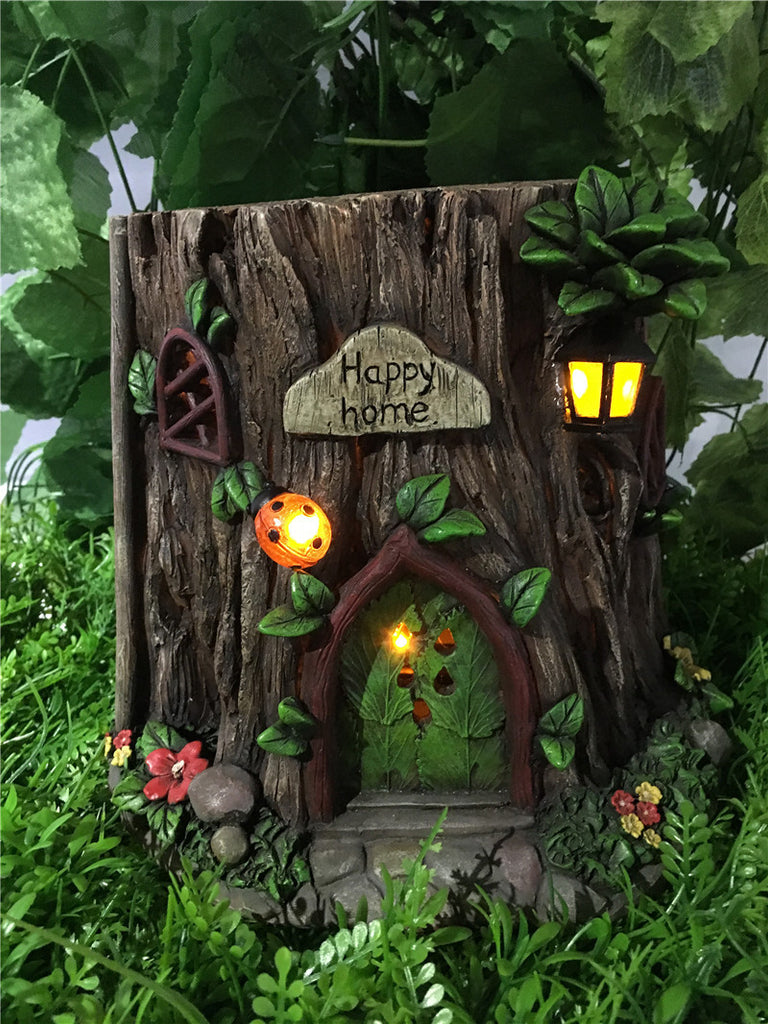 Fairy Garden-Tree Trunk House with Solar Lights