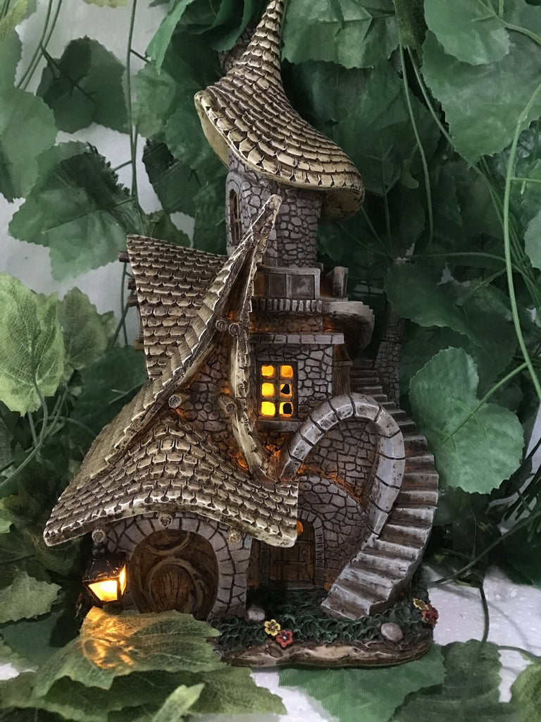 Fairy Garden House with Crooked Roof-Staircase and Lights