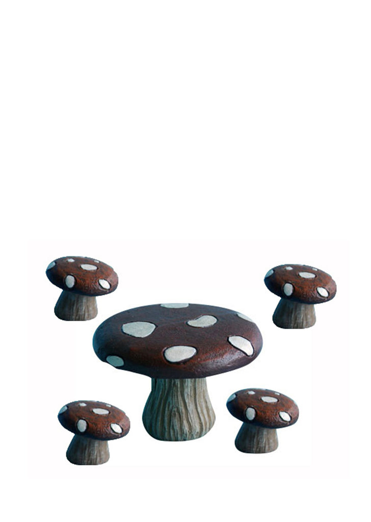 Fairy Garden Mushroom Table with 4 Stools