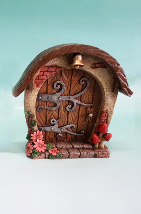 Fairy Garden-Mini Garden Brown Door with Bell & Scroll