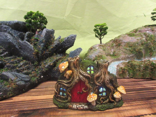 Fairy Garden-Tree Root House with Red Door & Mushrooms