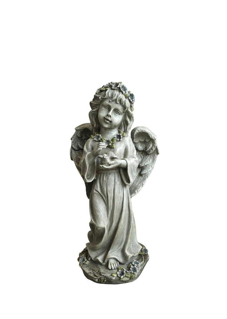 Child Angel Garden Statue Holding a Bird