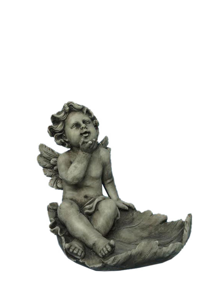 Angel on Leaf Bird Feeder Statue