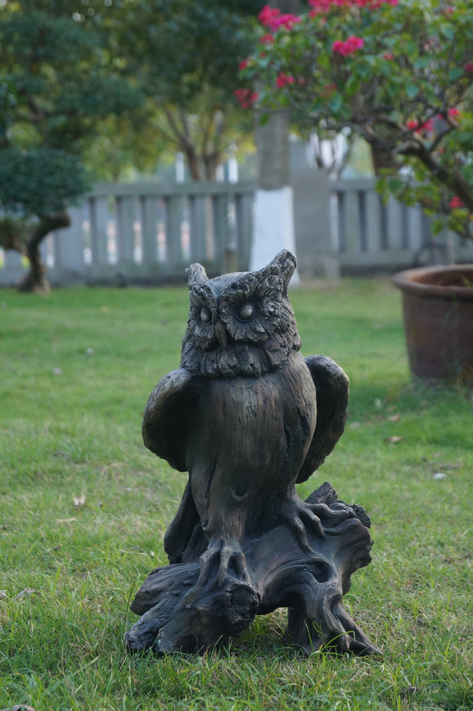 Owl Perched On Tree Trunk - Wood Finish Right