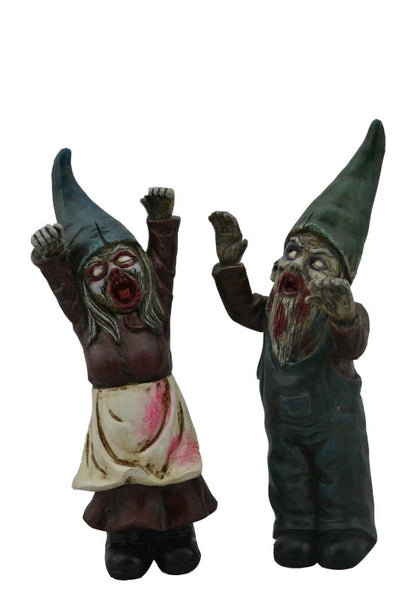 Halloween Female/Male Zombie Gnomes 11.5 In.High-Set Of 2
