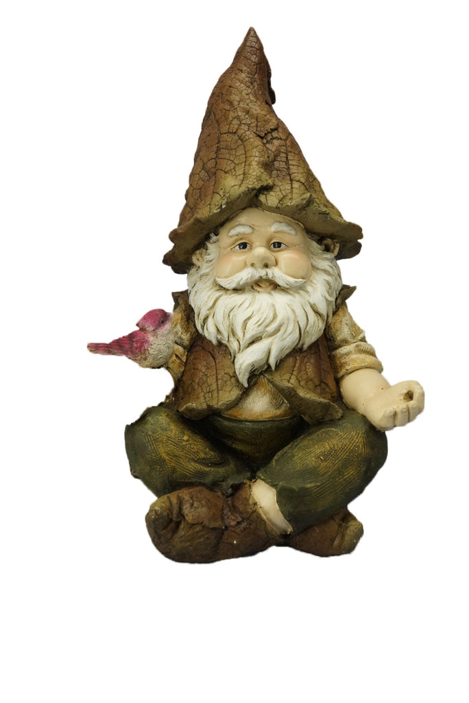 Sitting Gnome with Bird