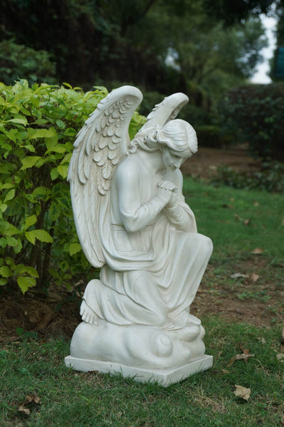 Angel Praying On One Knee with Wings Down