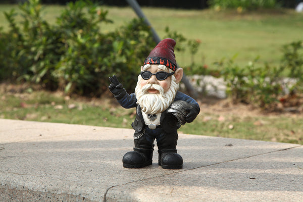 Gnome Biker with Sunglasses and Helmet- Gnomad